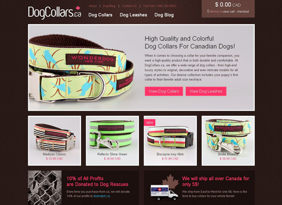 Dog-collars in 35 Beautiful E-Commerce Websites
