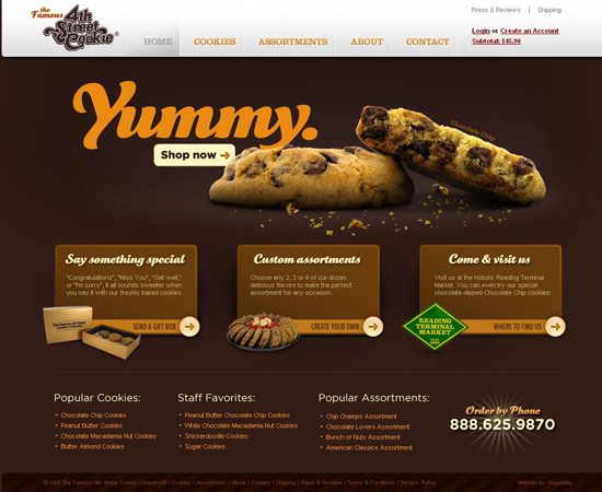 Famous-cookies in 35 Beautiful E-Commerce Websites