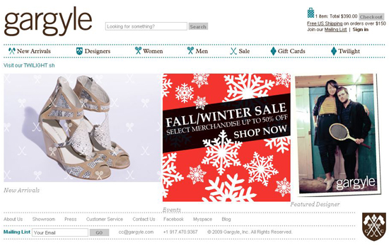 Gargyle in 35 Beautiful E-Commerce Websites