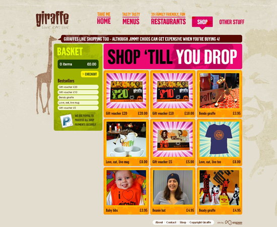 Giraffe in 35 Beautiful E-Commerce Websites