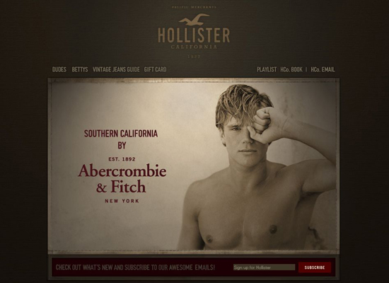 Hollister in 35 Beautiful E-Commerce Websites