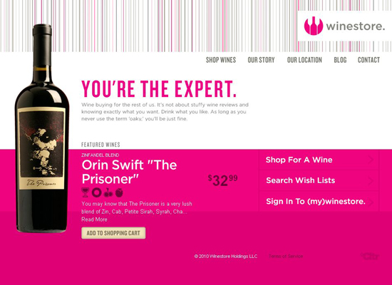 Winestore in 35 Beautiful E-Commerce Websites
