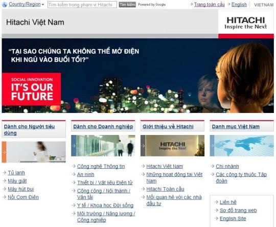 Giao diện website Hitachi Việt Nam