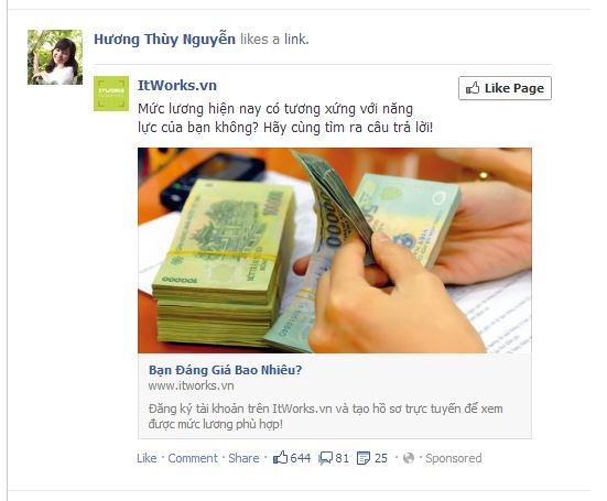 Facebook Ad newsfeed