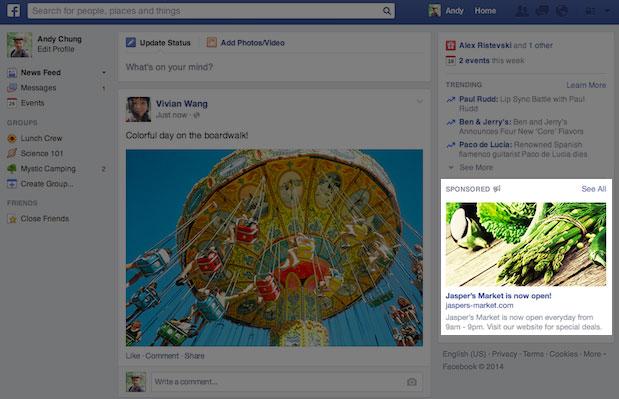 Kích thước mới của quảng cáo cột phải Facebook