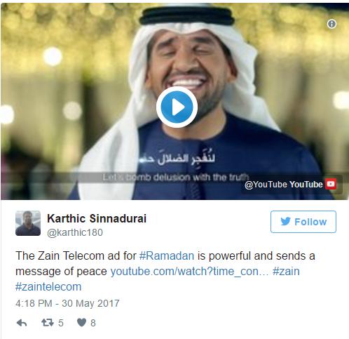 """""""Quảng cáo của hãng truyền thông Zain cho tháng Ramadan đầy sức lay động và gửi đi thông điệp hòa bình"""", Karthic Sinnadurai viết trên Twitter"""