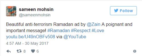 """""""Một quảng cáo chống khủng bố đầy ý nghĩa trong tháng Ramadan được thực hiện bởi Zain. Thông điệp thật quan trọng và sâu sắc"""", Sameeen Mohsin viết."""