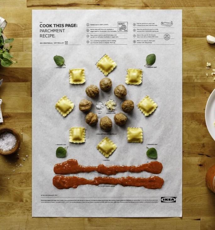 Các sản phẩm Cook the page chú trọng bố cục sắp xếp các nguyên liệu