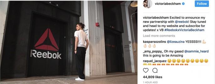 Victoria Beckham chính thức hợp tác cùng Reebok trong năm 2018